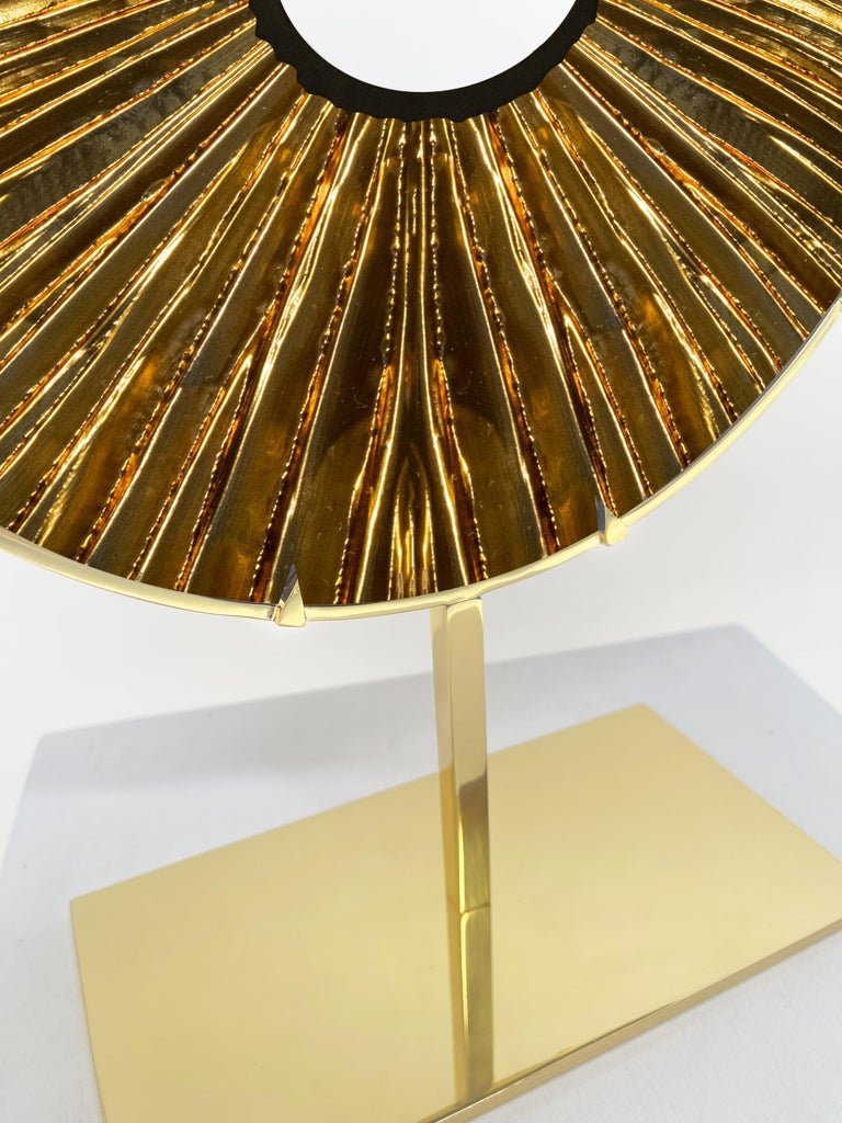 Modern Contemporary by Ghirò Studio 'Eye' Sculpture Amber Glass, Brass and 24 Kt Gold For Sale
