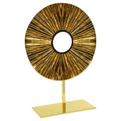 Contemporary by Ghirò Studio 'Eye' Sculpture Amber Glass, Brass and 24 Kt Gold