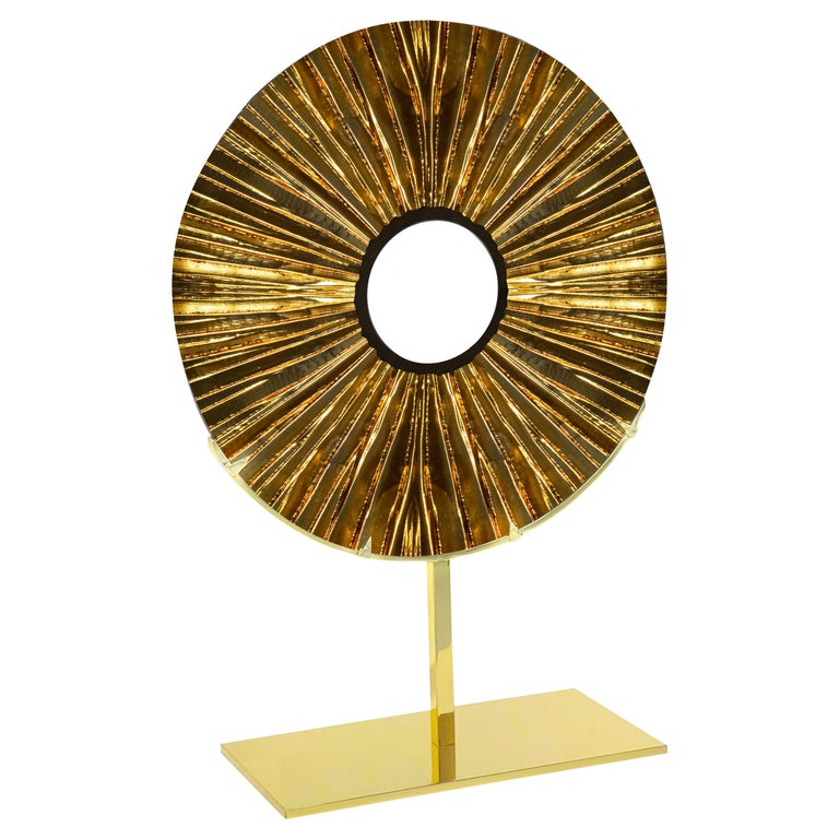 Contemporary by Ghirò Studio 'Eye' Sculpture Amber Glass, Brass and 24 Kt Gold For Sale