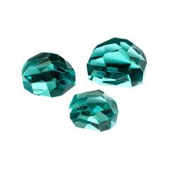 Contemporary by Ghirò Studio 'Gems' Set of Three Crystal Sculptures Aquamarine