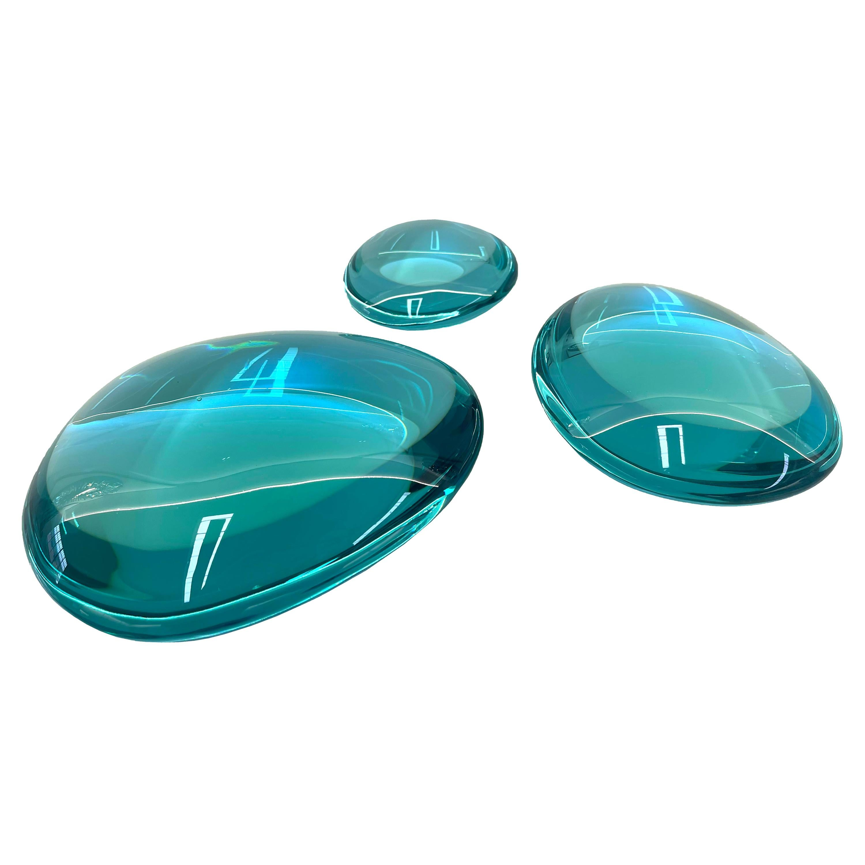 Contemporary by Ghirò Studio 'Gocce' Set of Three Sculptures Aquamarine Crystal