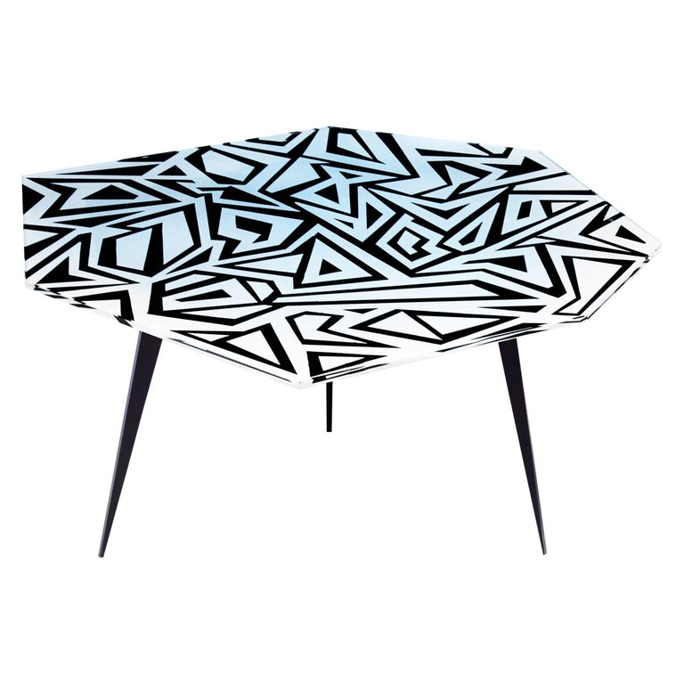 Contemporary by Ghirò Studio 'Graffito' Coffee Table Crystal and Black Brass For Sale