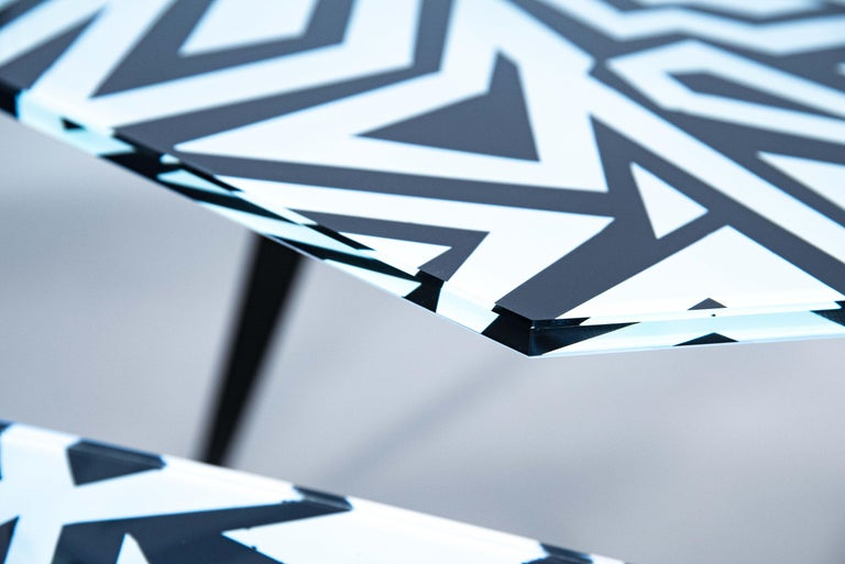 Modern Contemporary by Ghirò Studio 'Graffito' Coffee Table Crystal and Black Brass For Sale