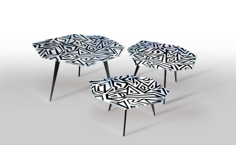 Hand-Crafted Contemporary by Ghirò Studio 'Graffito' Coffee Table Crystal and Black Brass For Sale