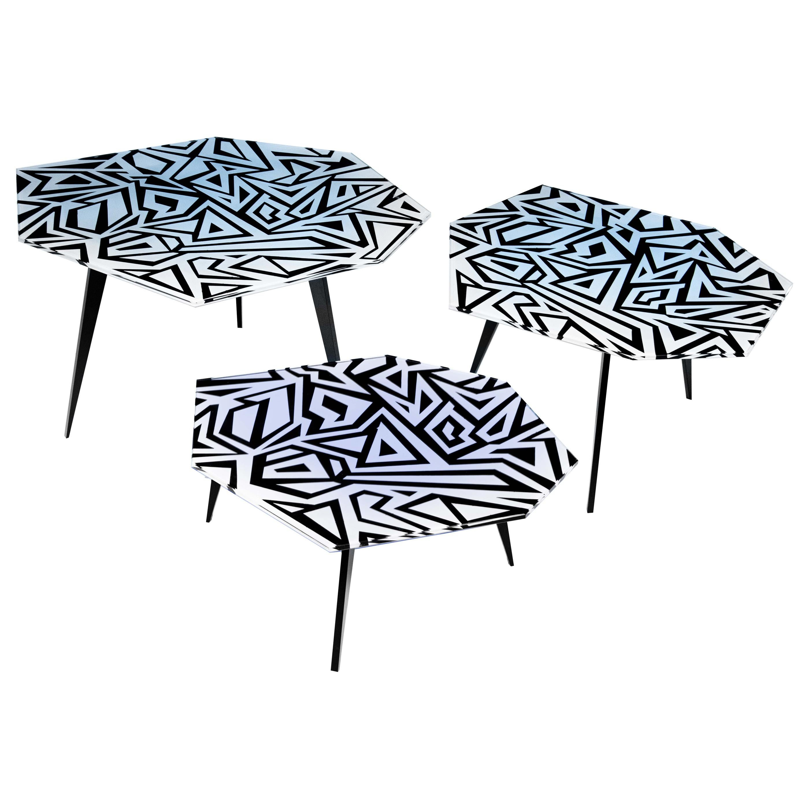 Contemporary by Ghirò Studio Graffito Set of Three Coffee Tables Black and White