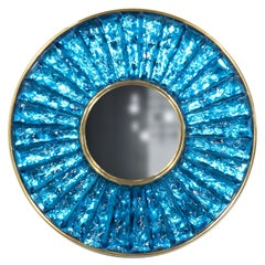 Contemporary by Ghirò Studio 'Mini Martelè' Blue Crystal, Brass and 24 Kt Gold
