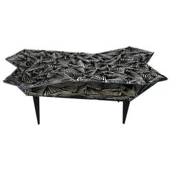 Contemporary by Ghirò Studio 'Montén' Coffee Table Iridescent Crystal and Brass