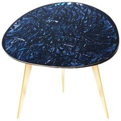 Contemporary by Ghirò Studio 'Notte' Coffee Table Blue Silver Crystal and Brass