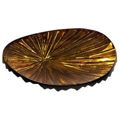 Contemporary by Ghirò Studio 'Oasi' Crystal Bowl Amber and Gold Big Size