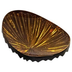 Contemporary by Ghirò Studio 'Oasi' Bowl Amber and Gold Crystal Small Size