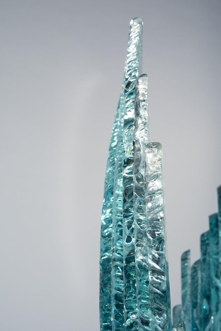 Hand-Crafted Contemporary by Ghirò Studio 'Wave' Crystal Sculpture Aquamarine Handcrafted For Sale