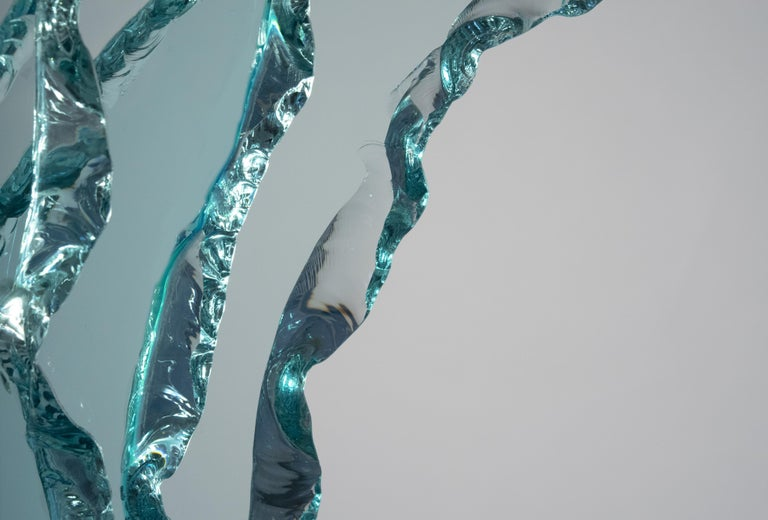 Glass Contemporary by Ghirò Studio 'Wave' Crystal Sculpture Aquamarine Handcrafted For Sale
