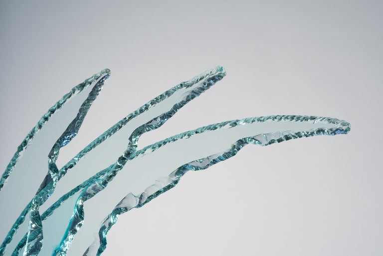 Contemporary by Ghirò Studio 'Wave' Crystal Sculpture Aquamarine Handcrafted For Sale 1