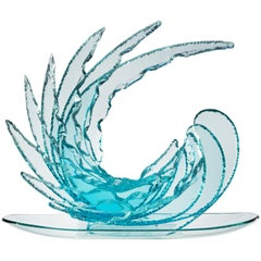 Contemporary by Ghirò Studio 'Wave' Crystal Sculpture Aquamarine Handcrafted