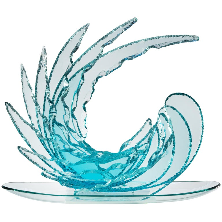 Contemporary by Ghirò Studio 'Wave' Crystal Sculpture Aquamarine Handcrafted For Sale