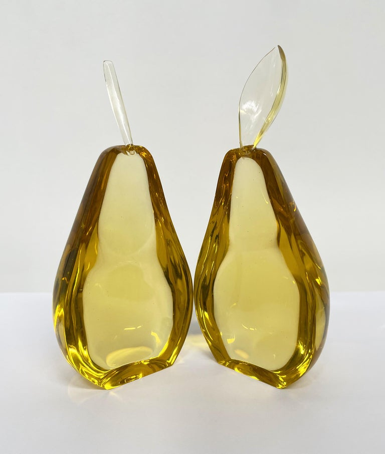 Modern Contemporary by Ghirò Studio 'Pear' Sculpture Amber Yellow Crystal Handcrafted For Sale