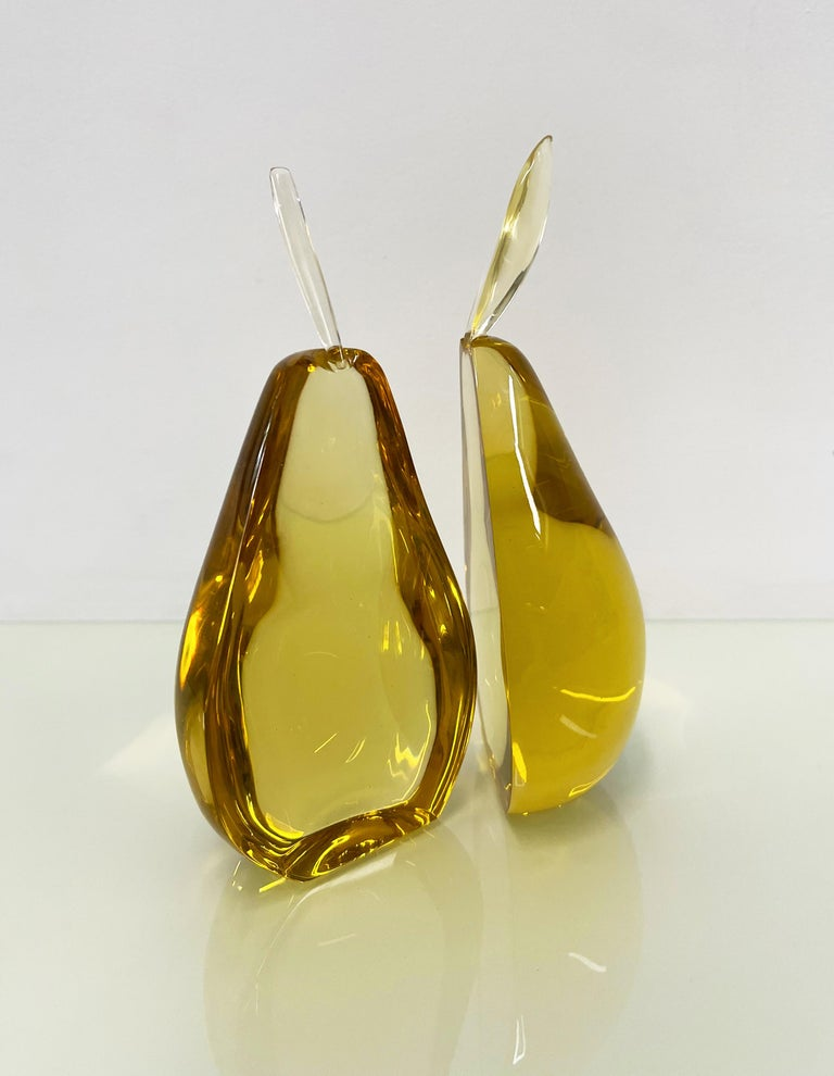 Italian Contemporary by Ghirò Studio 'Pear' Sculpture Amber Yellow Crystal Handcrafted For Sale