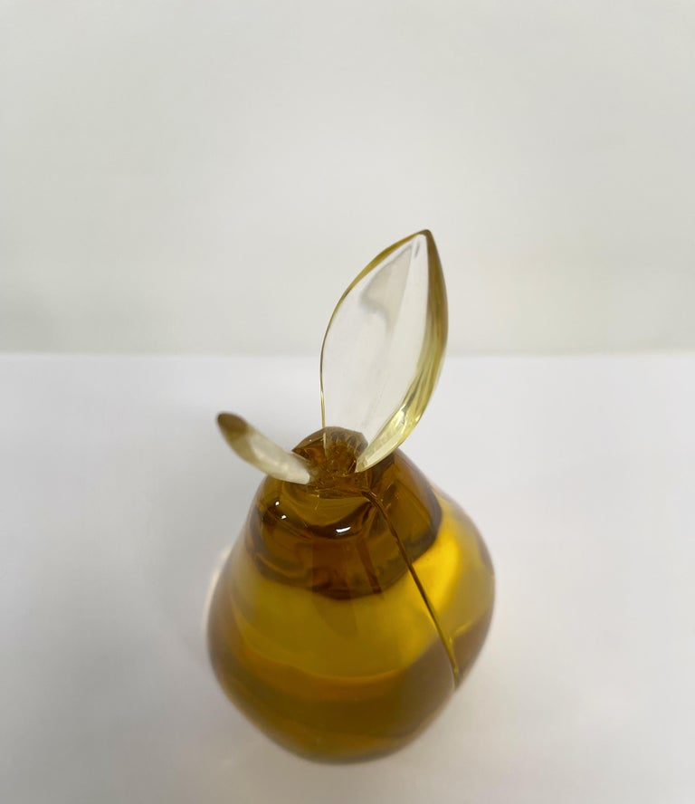 Hand-Crafted Contemporary by Ghirò Studio 'Pear' Sculpture Amber Yellow Crystal Handcrafted For Sale