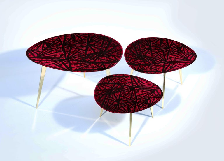 Modern Contemporary by Ghirò Studio 'Rubino' Coffee Table Crystal and Brass Medium Size For Sale