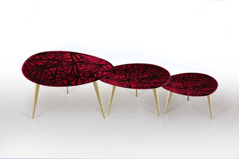 Hand-Crafted Contemporary by Ghirò Studio 'Rubino' Coffee Table Crystal and Brass Medium Size For Sale