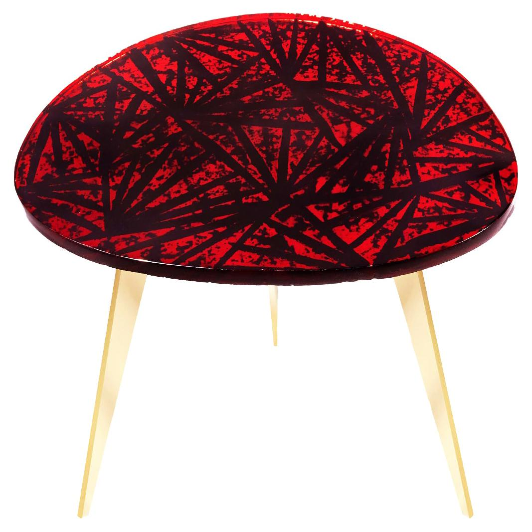 Contemporary by Ghirò Studio 'Rubino' Coffee Table Red Crystal and Brass