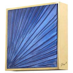 Contemporary by Ghirò Studio 'Square' Sconce Blue Crystal, Brass and 24 Kt Gold