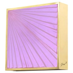 Contemporary by Ghirò Studio 'Square' Sconce Pink Crystal, Brass and 24 Kt Gold