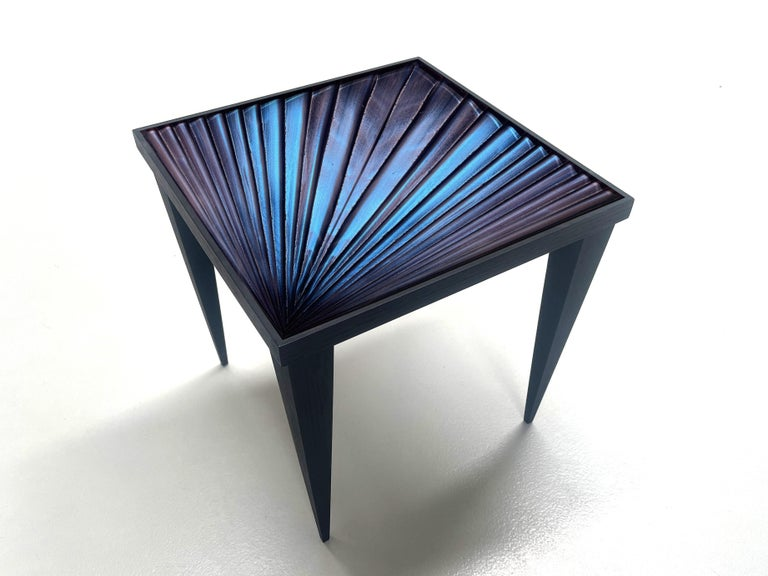 Modern Contemporary by Ghirò Studio 'Square' Table Blue Crystal and Oak Wood Handmade For Sale