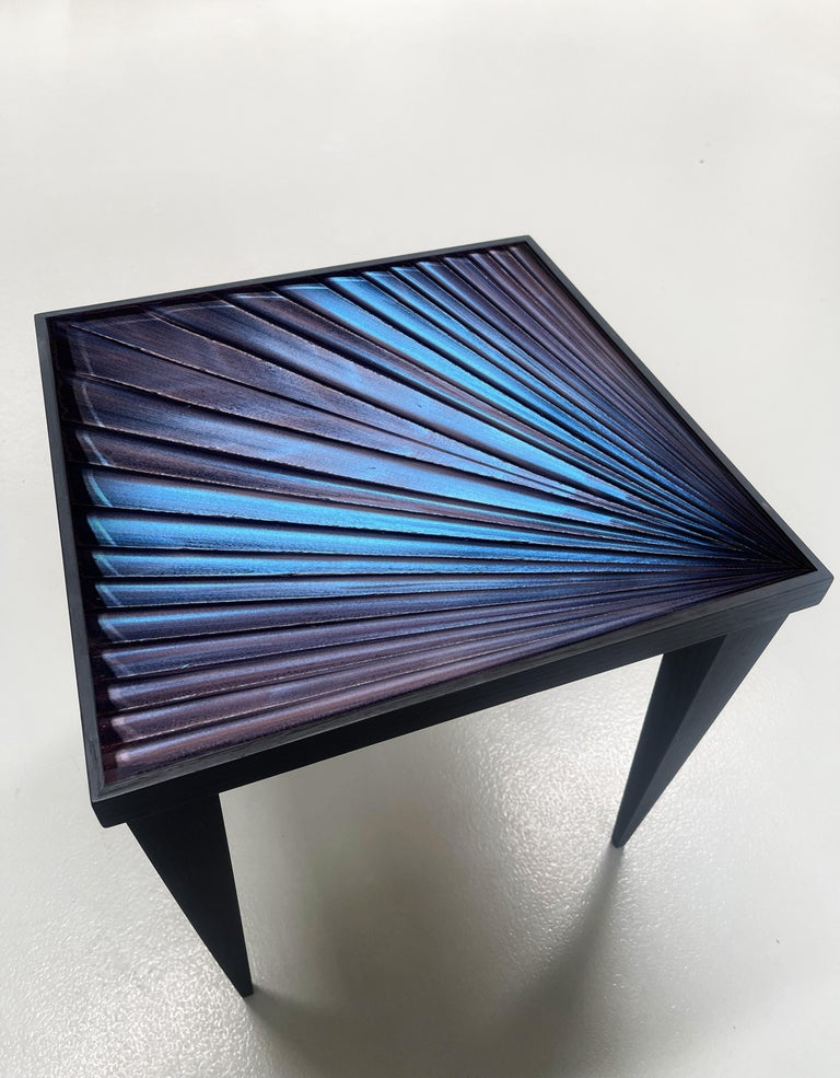 Hand-Crafted Contemporary by Ghirò Studio 'Square' Table Blue Crystal and Oak Wood Handmade For Sale