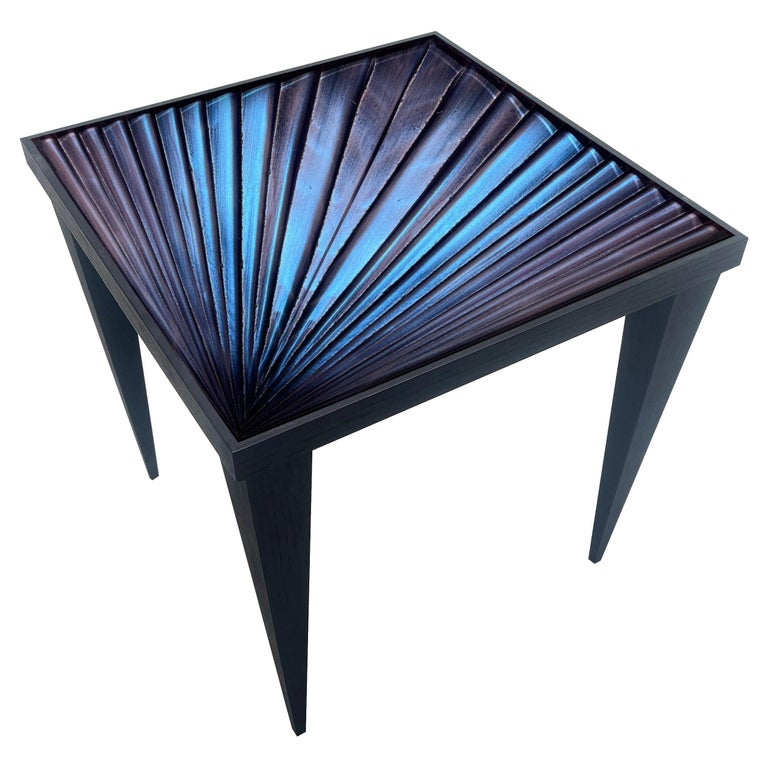 Contemporary by Ghirò Studio 'Square' Table Blue Crystal and Oak Wood Handmade For Sale