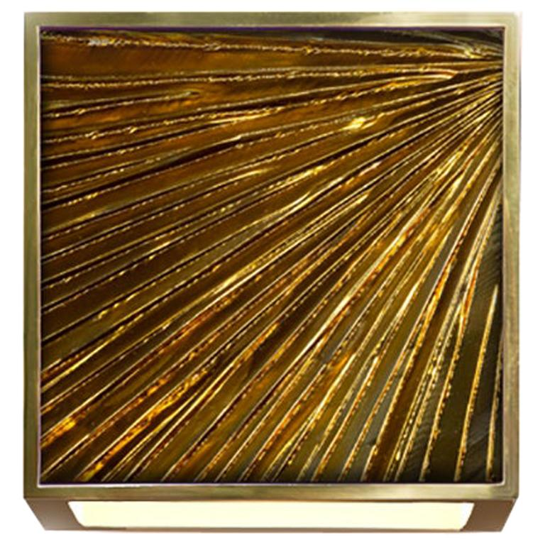 Contemporary by Ghirò Studio 'Square' Sconce Amber Crystal, Brass and 24Kt Gold