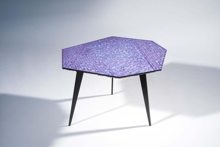 Modern Contemporary by Ghirò Studio 'Velluto' Coffee Table blue Crystal and Black Brass For Sale