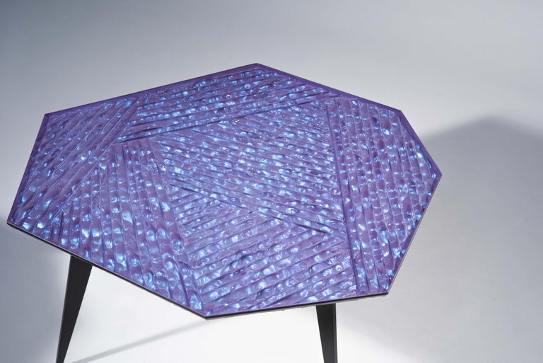 Italian Contemporary by Ghirò Studio 'Velluto' Coffee Table blue Crystal and Black Brass For Sale