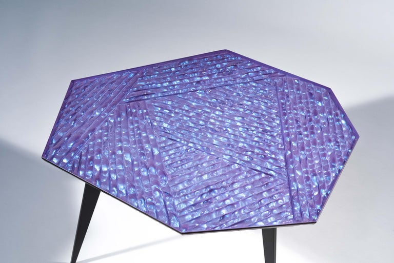 Hand-Crafted Contemporary by Ghirò Studio 'Velluto' Coffee Table blue Crystal and Black Brass For Sale