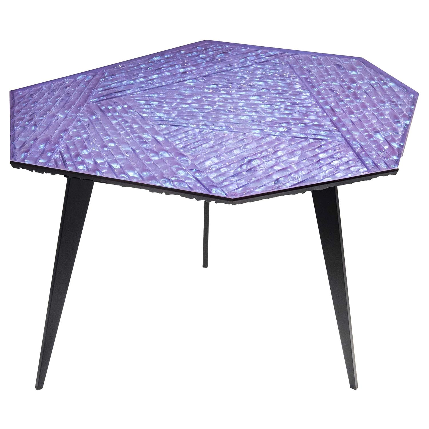 Contemporary by Ghirò Studio 'Velluto' Coffee Table blue Crystal and Black Brass