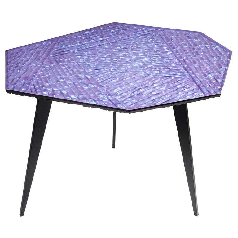 Contemporary by Ghirò Studio 'Velluto' Coffee Table blue Crystal and Black Brass For Sale