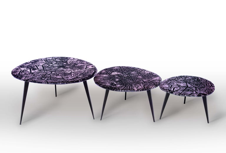 Contemporary by Ghirò Studio 'Zig-Zag' Coffee Table Amethyst Crystal and Brass For Sale 1