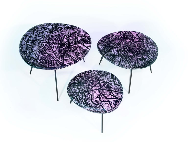 Contemporary by Ghirò Studio 'Zig-Zag' Coffee Table Amethyst Crystal and Brass For Sale 2