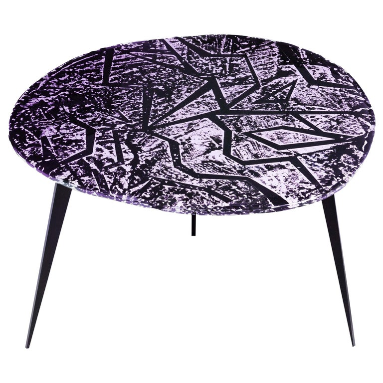 Contemporary by Ghirò Studio 'Zig-Zag' Coffee Table Amethyst Crystal and Brass For Sale