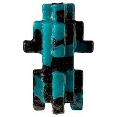 Contemporary by Las Animas Keru 203 Sculpture Vase Vessel Resin Black Green