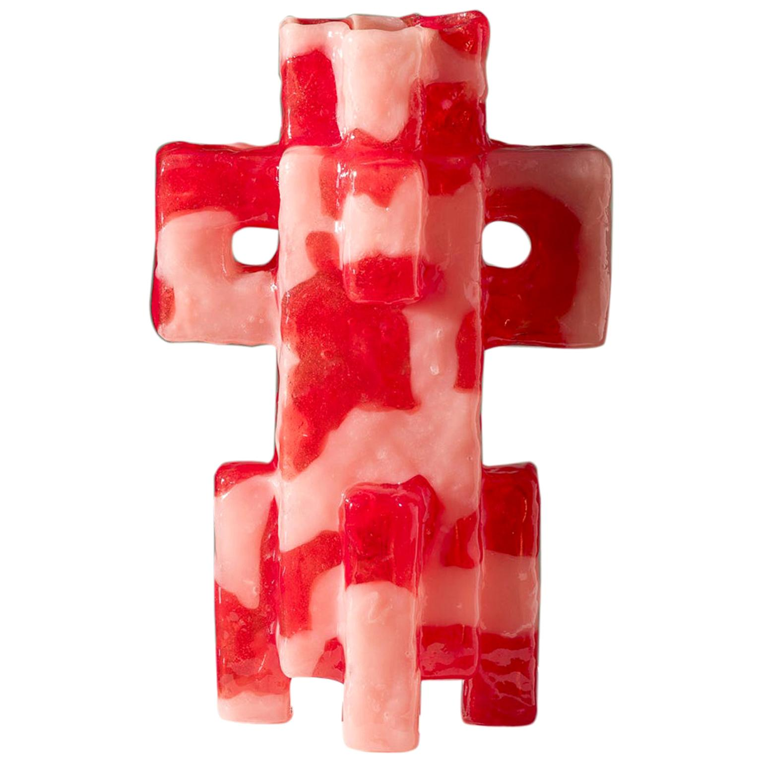 Contemporary by Las Animas KERU 204 Sculpture Vase Vessel Resin Red Pink
