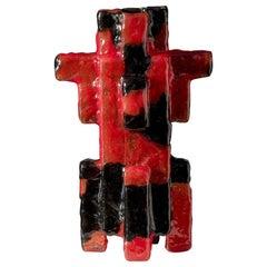 Contemporary by Las Animas Keru 206 Sculpture Vase Vessel Resin Red Black