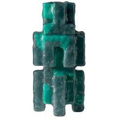 Contemporary by Las Animas Keru 209 Sculpture Vase Vessel Resin Green Gray