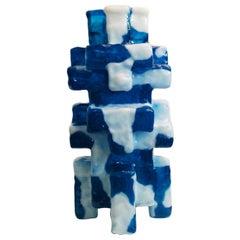 Contemporary by Las Animas Keru 212 Sculpture Vase Vessel Resin Blue White