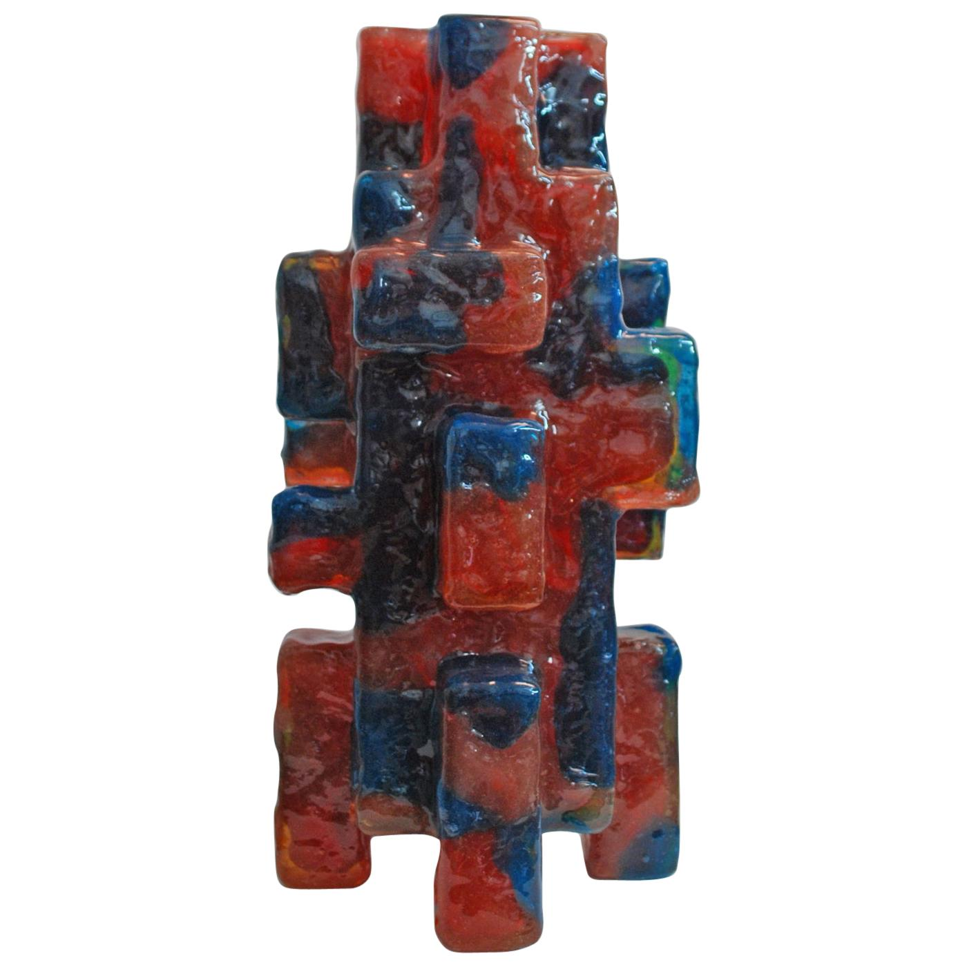 Contemporary by Las Animas Keru 214 Sculpture Vase Vessel Resin Red Blue