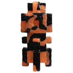 Contemporary by Las Animas Keru 215 Sculpture Vase Vessel Resin Black Orange
