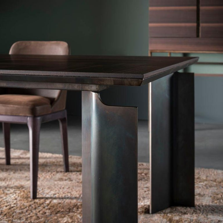 Modern Contemporary by Studio Oxi Table Wood Veneer Table Wood Steel For Sale