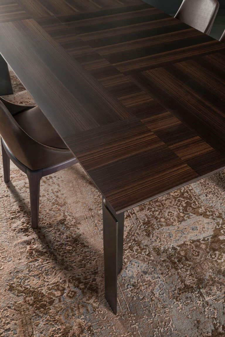 Italian Contemporary by Studio Oxi Table Wood Veneer Table Wood Steel For Sale