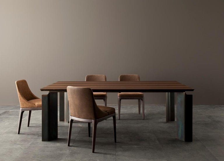 Inlay Contemporary by Studio Oxi Table Wood Veneer Table Wood Steel For Sale