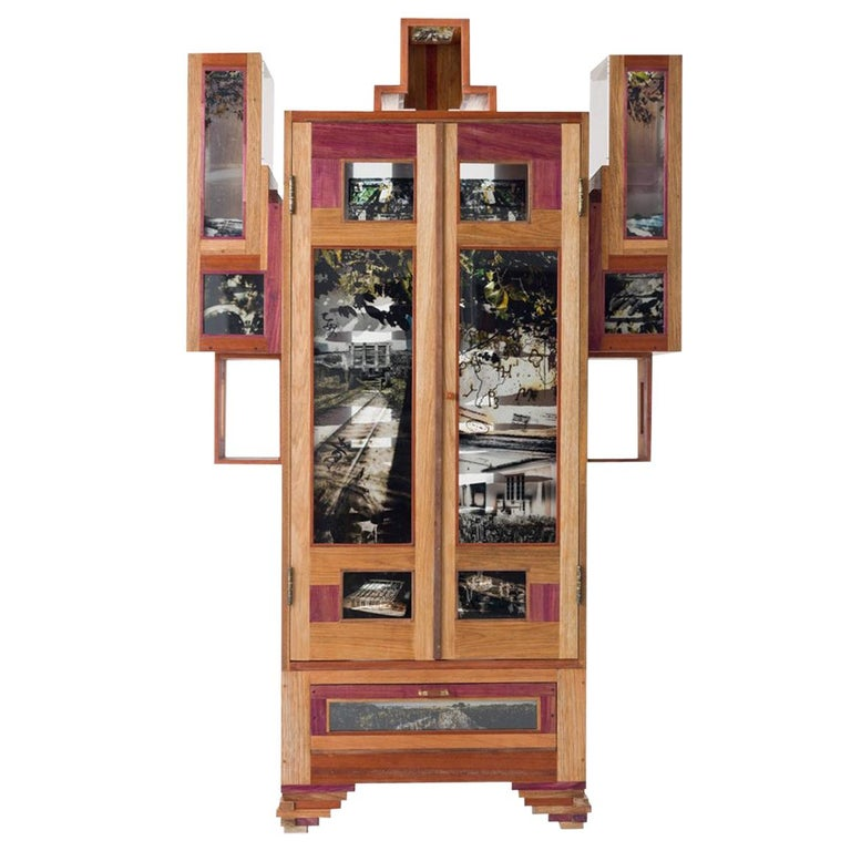 Contemporary Cabinet Coffee Mask, Mixed Woods with Photography in Acrylic For Sale